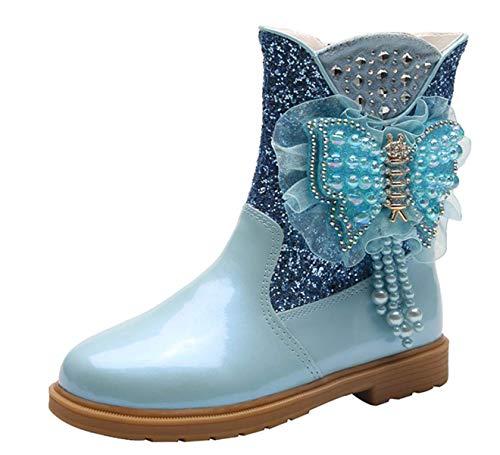 LOBTY filles princesse bottes de neige enfants bottes dhiver avec doublure chaude bottes en Wellington pour bottes antidérapantes en plein air au design congelé parfait 25-36 CM