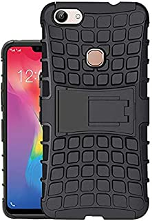 Vivo Y83 Defender Hard Back Armor Shock Proof Case Cover with Back Stand Feature Black