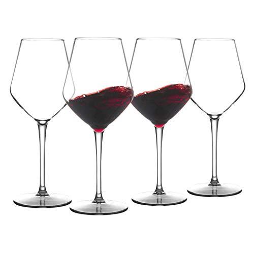 COOKY.D Vasos de vino de plástico Tritan-rojo burdeos de 445 ml, irrompibles...