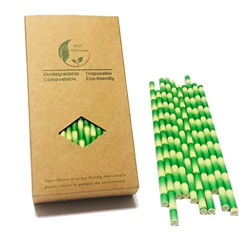 Grüne Bambusstrohhalme biologisch abbaubares Rindsleder in Lebensmittelqualität, nicht aus Kunststoff, geeignet für Partydekorationen, eine Schachtel mit 100 Stück