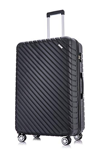 Flymax 29' Large Suitcases on 4 Wheels Lightweight Hard Shell Luggage Durable Check in Hold Luggage Built-in 3 Digit Combination Black