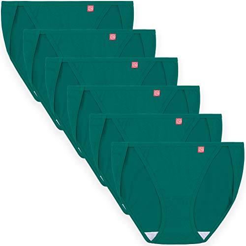 Innersy Women 6 Pack String Bikini Panties Low Rise Cut Cotton Underwear Briefs(Large, 6 Green)