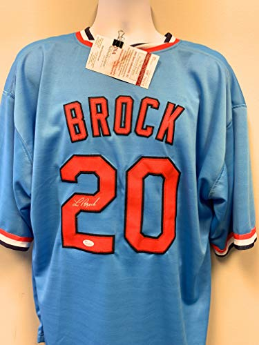 Lou Brock St. Louis Cardinals Signed Autograph Custom Jersey Throwback JSA Certified