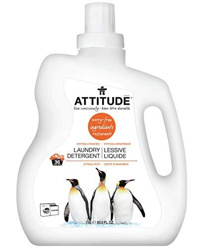 ATTITUDE Natural Laundry Detergent, Non toxic, Hypoallergenic, ECOLOGO Certified, Citrus Zest, 60.8 Fl Oz, 36 Loads