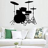 Drum Set Art Silhouette Wall Decal Decoración del hogar Arte Fotomural Instrumento de vinilo Dormitorio Sala de estar Papel tapiz 63x57cm