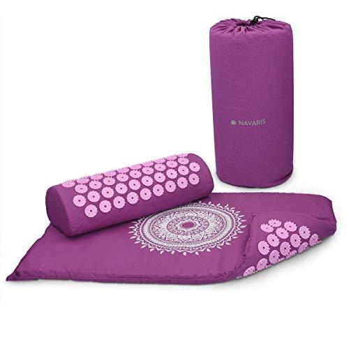 Navaris 2in1 Akupressur Massage Set - Akupressurmatte und Kissen mit Tasche - Akupressur Matte und Kopfkissen zur Lösung von Verspannungen - Violett