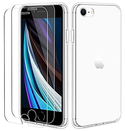 ICOVERI Pack Funda Gel Transparente antigolpes Compatible con iPhone 7/8 / se...