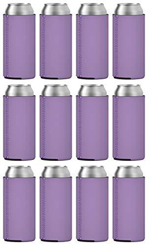 TahoeBay Slim Can Coolers (12-Pack) Blank Neoprene Beer Sleeves (Lavender)