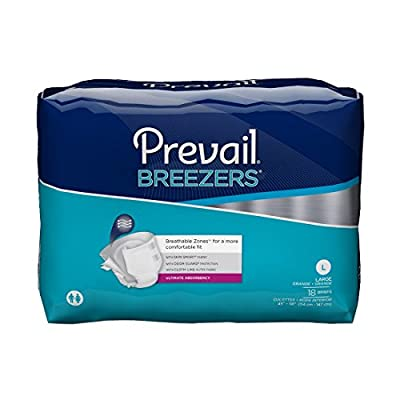 Prevail Breezers Ultimate Absorbency Incontinence Briefs, Large, 18-Count by Prevail