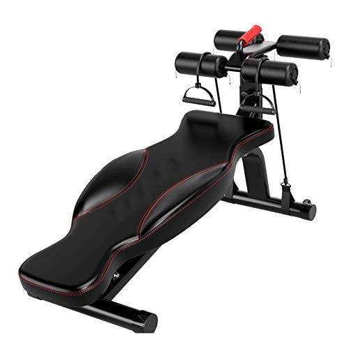 Banco de Pesas Ajustable para Sentarse, Tabla de Ejercicios de Fitness de Entrenamiento de Cuerpo Completo + mancuerna, para Gimnasio en casa Plegable Plano/Inclinado/declinado (Color : Negro)
