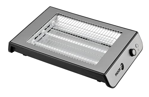 FAGOR - Tostapane piatto QuickToast Inox 900 W di potenza e esterno completo in acciaio inox Tripla resistenza e 6 posizioni di tostatura.