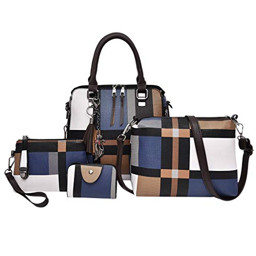 Fashion Designer Handbags 4pcs Set For Women Satchel Purse Handbags Card Holder Set Satchel Purses Crossbody Pack Tote Bag Wallets