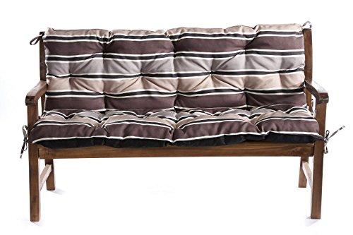 Bankauflage Für Hollywoodschaukel Bankkissen Set Sitzkissen Rückenlehne L  (200x60x50, Braun-Creme)