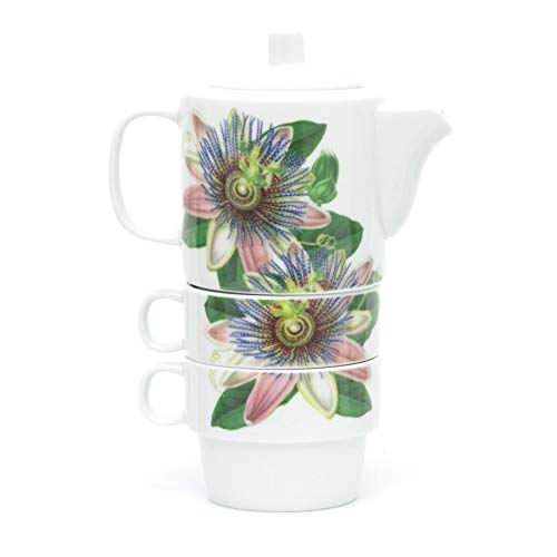 Carousel Home Gifts Botanical Stacking Tea For Two Set   Ceramic Nesting Teapot And Cups   Stackable Tea Pot And Cup Set - Design Varies One Supplied
