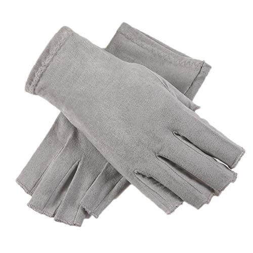 New Suede Gloves Male Female Thin Semi-Finger Gloves Unisex Anti-Slip Breathable Sweat Absorption Driving Mittens Gray XL