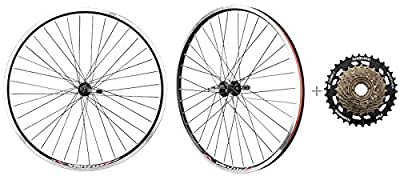 """CyclingDeal Bicycle Mountain Bike 26 inch Double Wall Rims MTB Wheelset 26"""" 7 Speed with Compatible with Shimano MF-TZ500-7 14-34T Freewheel - Front & Back Wheels"""