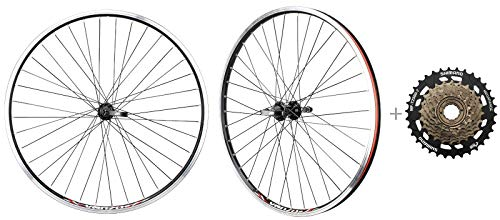 CyclingDeal Bicycle Mountain Bike 26 inch Double Wall Rims MTB Wheelset 26' 7 Speed with Compatible with Shimano MF-TZ500-7 14-34T Freewheel - Front & Back Wheels