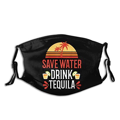 Physhen Guardar agua bebida tequila máscara facial unisex lavable reutilizable pasamontañas con 2 filtros