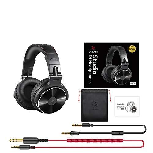Auriculares estéreo con cable para estudio de DJ profesional con micrófono monitor de oído de estudio, auriculares de bajo auricular Pro-10 negro