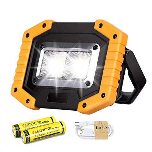 30W LED Work Light Rechargeable COB Floodlight Super Bright 1500LM Portable Outdoor Security Light Waterproof for Camping Hiking Fishing BBQ