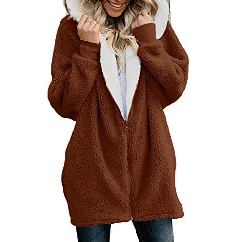 Cardigan Donna Invernale Taglie Forti Lungo Maglione Maglia Sweater Cappotto Anteriore Aperto con Tasca Maglioni Autunno Inverno Felpe Lunghe Giacca (XXL,caffè)