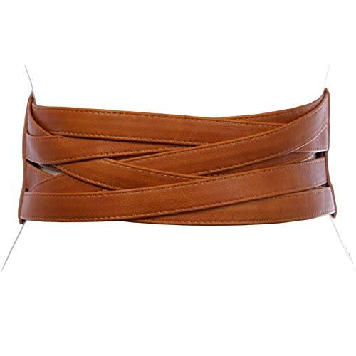 4' Women's High Waist Non Leather Fashion Wide Braided Stretch Belt, Tan | s/m: 30'- 33'