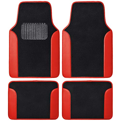 BDK MT202 Fresh Carpet Floor Mats for Car Sedan SUV Truck-Two Tone Color Design with PU Leather Trim Feature