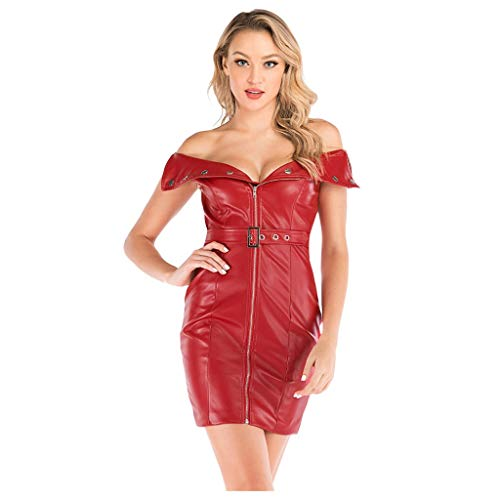 Lowest Prices! Witspace Fashion Sexy Women's Leather Paint Zip Pencil Skinny Slim Short Drees