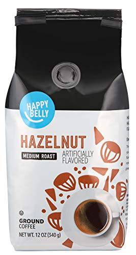 Amazon Brand - Happy Belly Hazelnut Flavored Ground Coffee, Medium Roast, 12 Ounce