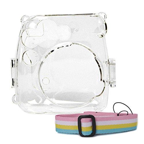 Vococal - Funda Protectora de plástico portátil con Correa de Hombro Ajustable extraíble para cámaras Fujifilm Instax Mini 9 8 8 + Modelo de cámaras instantáneas, Transparente