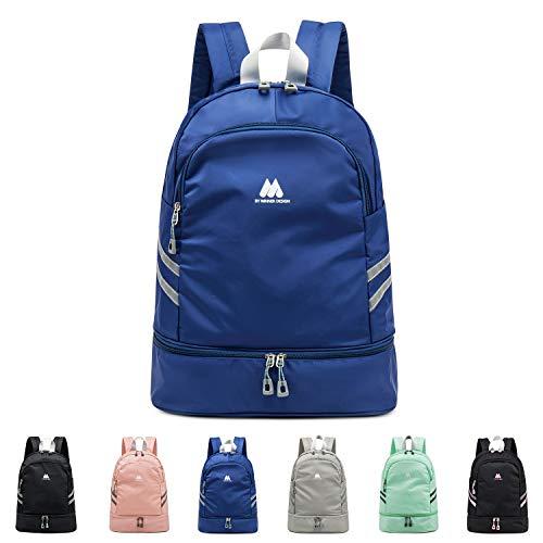 FEDUAN Sport-Rucksack Sporttasche mit Schuhfach und Nassfach Damen Herren Teenager Backpack für Fitness Gym Outdoor Camping Schule Schwimmbad Fahrrad-Rucksack Mädchen Junge Kinder blau