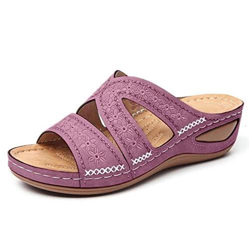 QAZW Sandali con Zeppa per Donna Sandali da Spiaggia Traspiranti alla Moda con Tacco Medio a Punta Aperta,Purple-9