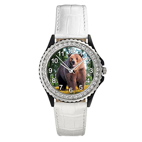 Timest - Oso - Reloj del Cuero Blanco para Mujer con piedrecillas Analógico Cuarzo CSG0092w