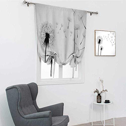 """GugeABC Dandelion Blinds for Windows, Seed Blowing Away Floral Illustration Monochrome Arrangement Romantic Pattern Tie Up Balloon Shade Curtain, Black White, 39"""" x 64"""""""
