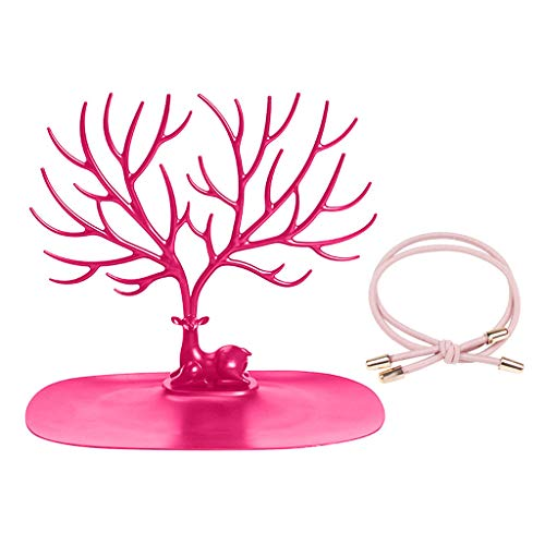 Janly Clearance Sale Creative Jewelry Organizer Display Earring Necklace Holder Ring Display Stand , Home Decor for Easter Day (Hot Pink)