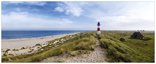 Wallario Acrylglasbild Am Strand von Sylt Leuchtturm auf der Düne Panorama - 50 x 125 cm in Premium-Qualität: Brillante Farben, freischwebende Optik