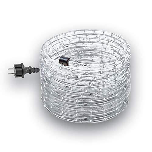 GEV LED 230 V Prêt à brancher pour l'intérieur et l'extérieur Diamètre 13 mm Pour fête Noël Décoration lumineuse IP 44 Plastique Blanc froid 14 m x 1,3 x 1,3 cm