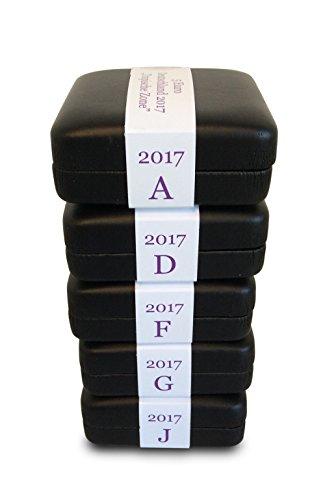 MÜNZJUWEL Luxus-Schatulle für 5 Euro Münze 2017 Tropische Zone inkl. Münzkapsel # Serie Klimazonen der Erde 5er Set für alle Prägestätten (A,D,F,G,J)