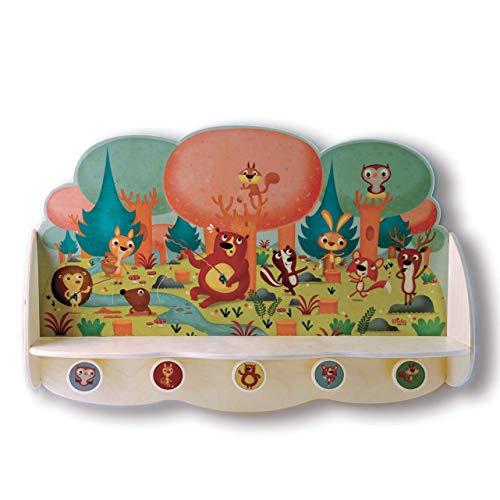 Dida - Große, Robuste Wandgarderobe Mit Ablage Aus Holz Für Kinder, Dekoriert Mit Tieren Im Wald Für Das Kinderschlafzimmer