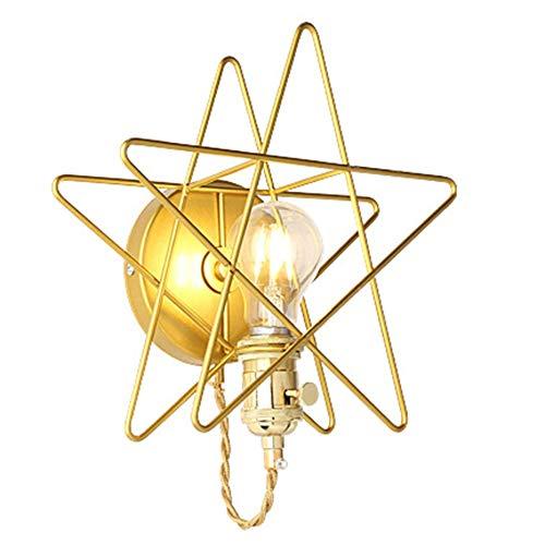 Pentagrama Lámpara De Pared De La Escalera Del Pasillo Del Pasillo Dormitorio De Noche Balcón Estrellas Lámpara De Pared Lámpara De Pared Pentagram De Oro WFSH (Color : Gold)