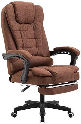 Mscxj Computer Stuhl Reclinable Entwurfs-Gewebe-Drehstuhl Boss Soft-Built-in Lendenkissen Premium-Leinen Technische Behandlung bequemer Haltung aus Kunststoff (Color : Brown)