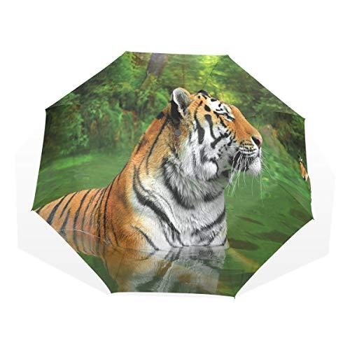 LASINSU Paraguas Resistente a la Intemperie,protección UV,Paraguas Ligero,Gato Grande a Rayas Negras de Siberia Nadando en el Bosque del Lago,Plegable