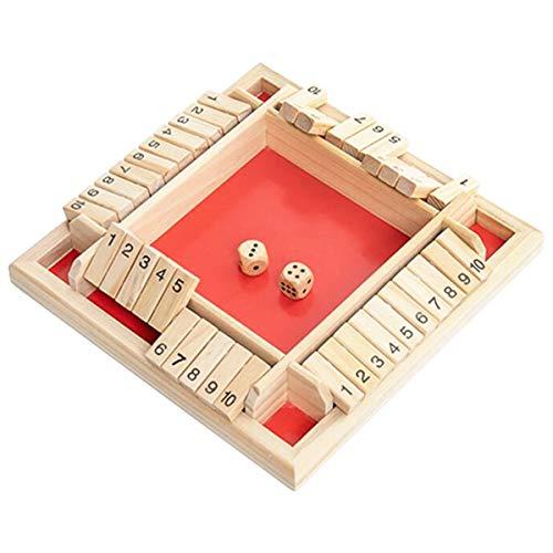 Hollazilla シャットザボックス shout the box サイコロゲーム 数字 足し算 4人プレイ ボードゲーム パブゲーム 脳トレ 面白い (レッド)