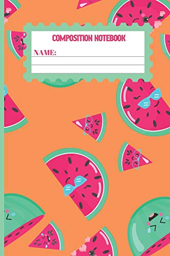 Composition Notebook: Watermelon gifts: cute & elegant Sea Buckthorn colored pattern college ruled lined paper to write in.