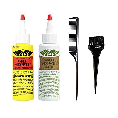 Wild Growth Complete Hair Growth System Includes Hair Oil 4 oz. + Light Oil Moisturizer 4 oz. +...