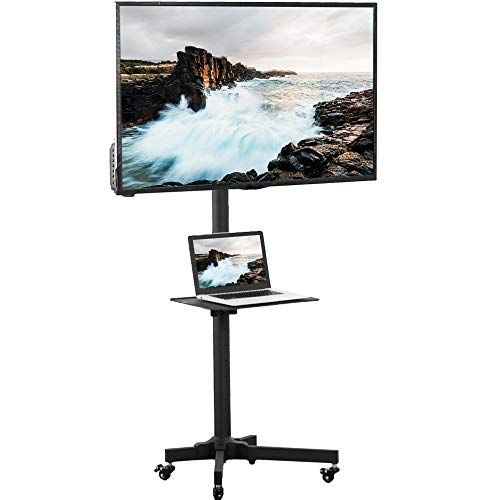 VIVO Universal Mobile TV Cart for 23- 55 inch LCD LED Flat Panel Screen TVs up to 55 lbs, Pro Height Adjustable Rolling Black Stand with Laptop Shelf, Locking Wheels - Max VESA 400x400 STAND-TV04M