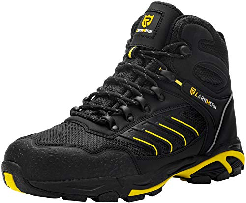 LARNMERN Sicherheitsschuhe Arbeitsschuhe Herren, Sicherheit Stahlkappe Stahlsohle Anti-Perforations Luftdurchlässige Schuhe (43 EU, Schwarz Gelb)