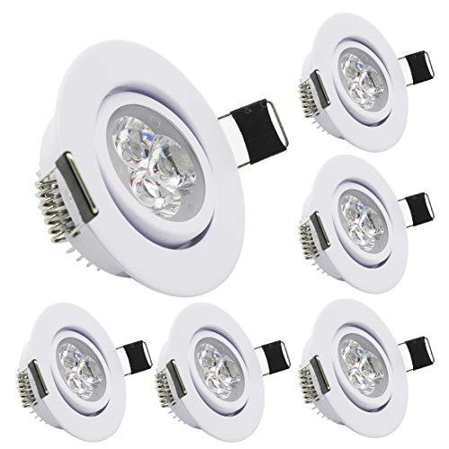 LEDIARY Paquete de 6 Downlights LED de techo, 220 V, 3 W, 55 mm, agujero de corte, ángulo ajustable, pequeñas luces LED con controlador LED