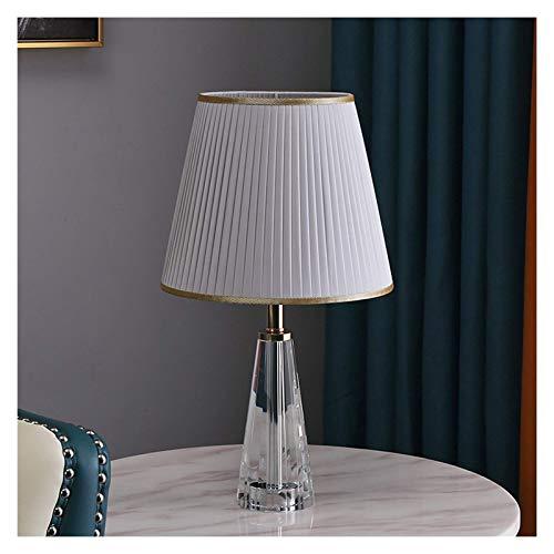 Lámpara de escritorio Lámpara de mesa moderna de 18.1 pulgadas de altura 10.2 pulgadas de diámetro con acabado de cristal transparente Pantalla plisada de color Dormitorio Sala de estar u oficina