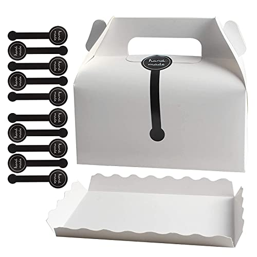 Tomedeks Scatole Per Torte In Carta Da 10 Pezzi Scatole Pasticceria Cartone Con Piastra Inferiore E Striscia Sigillante Per Cake Box Scatole Per Biscotti, Pasticcini(bianco)